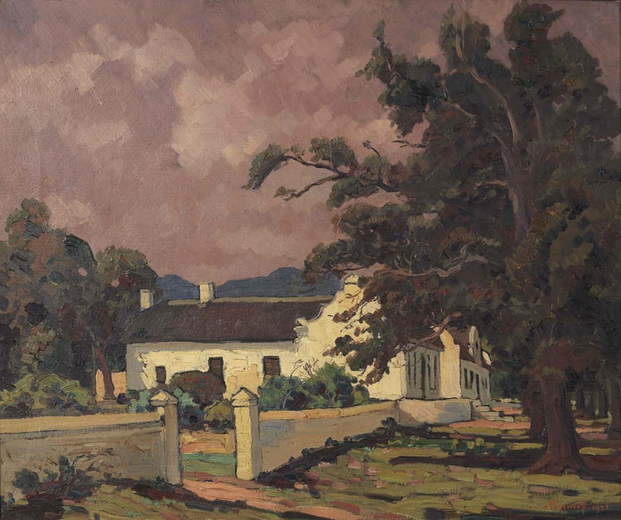 Pierneef Cape Dutch House contro un cielo rosa
