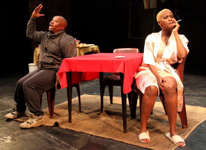 Desmond Dube and Masasa Mbangeni in Nongogo. Photo by Ruphin Coudzyer. Image courtesy of Canadian Stage