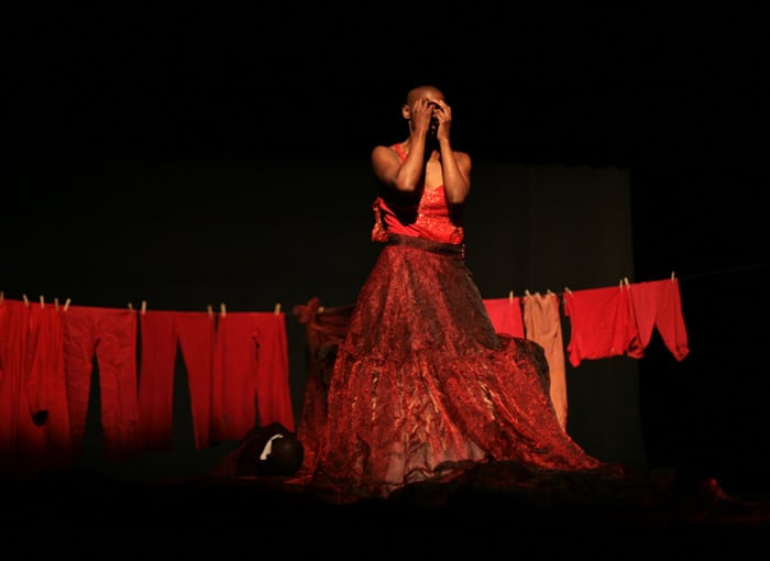 Mamela Nyamza in Hatched. Photo by John Hogg. Image courtesy of Canadian Stage