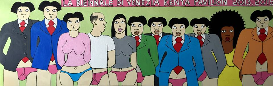 Michael Soi The shame in Venice 1 300 by 100 cm  acrylics mixed media on canvas 18th march 2015
