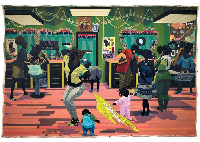 Kerry James Marshall, School of Beauty, School of Culture, 2012. Acrilico su tela, 274 x 401 cm. Collezione del Museo d'arte di Birmingham. Fotografia: Sean Pathasema. Tutte le immagini per gentile concessione dell'artista e del Museum of Contemporary Art di Chicago.
