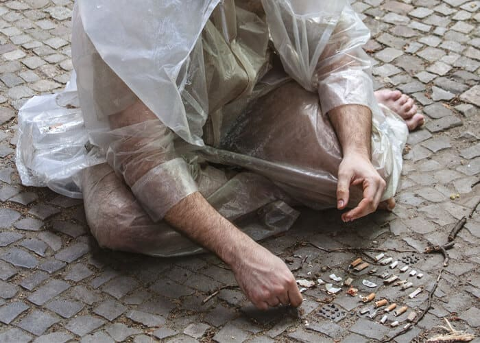 Kai Lossgott, hunter-gatherer, 2016. Production still from performance with wearable postconsumer plastic sculpture and found objects; 3 hrs, Schillerpromenade, Berlin. Photo: top e. v. Image courtesy of the artist.