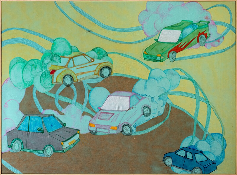 Fellas, not cause all you can steer that dont mean all you can drive boy, 2017. Mixed media on synthetic fabric, 156 x 213 cm. Image courtesy of SMITH