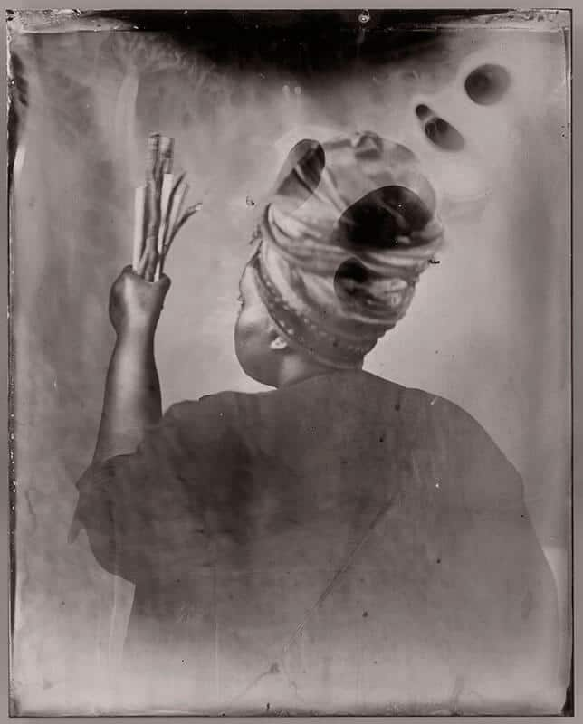 Khadija Saye, Dwelling: In this Space we Breathe, Sothiou, 2017. Wet plate Collodeon tintype, 10 x 8 inches. Images courtesy of the International Curators Forum.