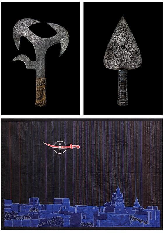 TOP LEFT: Mahdist spray knife. Iron and snake skin, H 35 cm. End of the 19th century, Sudan, Barbier-Mueller Museum, Geneva, Inv. 1027-156. © photo studio Ferrazzini-Bouchet. TOP RIGHT: Mahdist knife. Iron, wood and leather, 32,1 x 13,8 x 2 cm. End of the 19th century,Sudan. Barbier-Mueller Museum, Geneva, Inv. 1027-159.© photo studio Ferrazzini-Bouchet. BOTTOM: Abdoulaye Konaté, No to sharia in Timbuktu, 2013. Installation in textile. © Bamako, Mali, Musée national du Mali. © Abdoulaye Konaté, Image courtesy of Primo Marella Gallery.