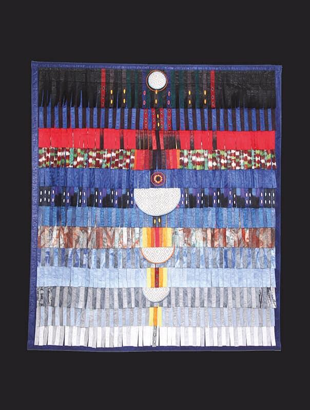 Abdoulaye Konaté, Composition for Haj Abdelkader Ouazzani - Fès n°3, 2016. Textile, 190 x 216 cm. © Sebastien Rieussec.