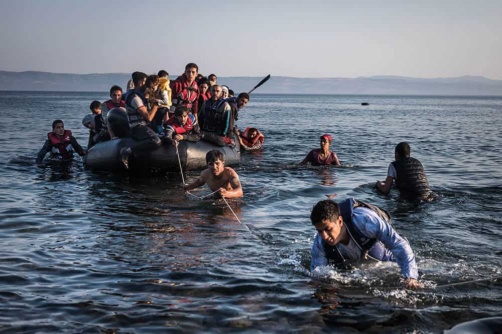 Sergey Ponomarev, Lesbos, Greece, 27th July 2015, from the series The Exodus. © Sergey Ponomarev, image courtesy of IWM.