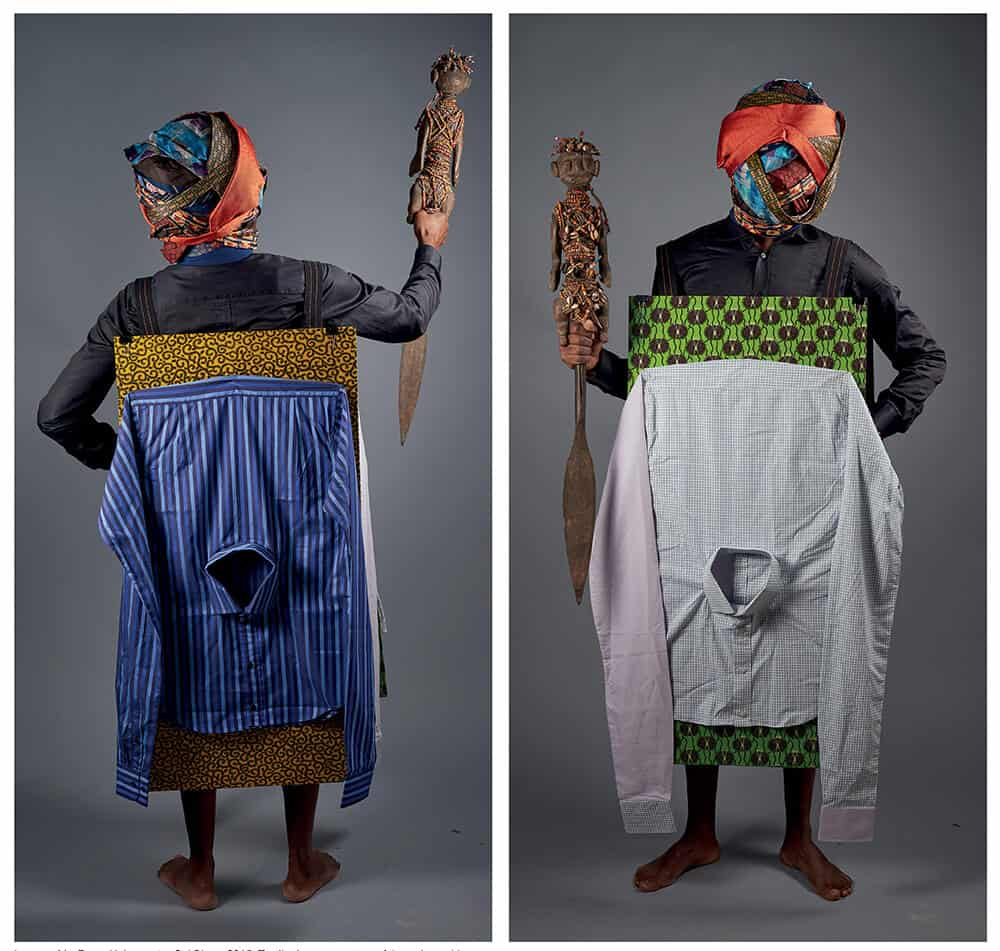 Lamyne M., Force Noire contre Col Blanc, 2015. Textile. Image courtesy of the artist and Iman.
