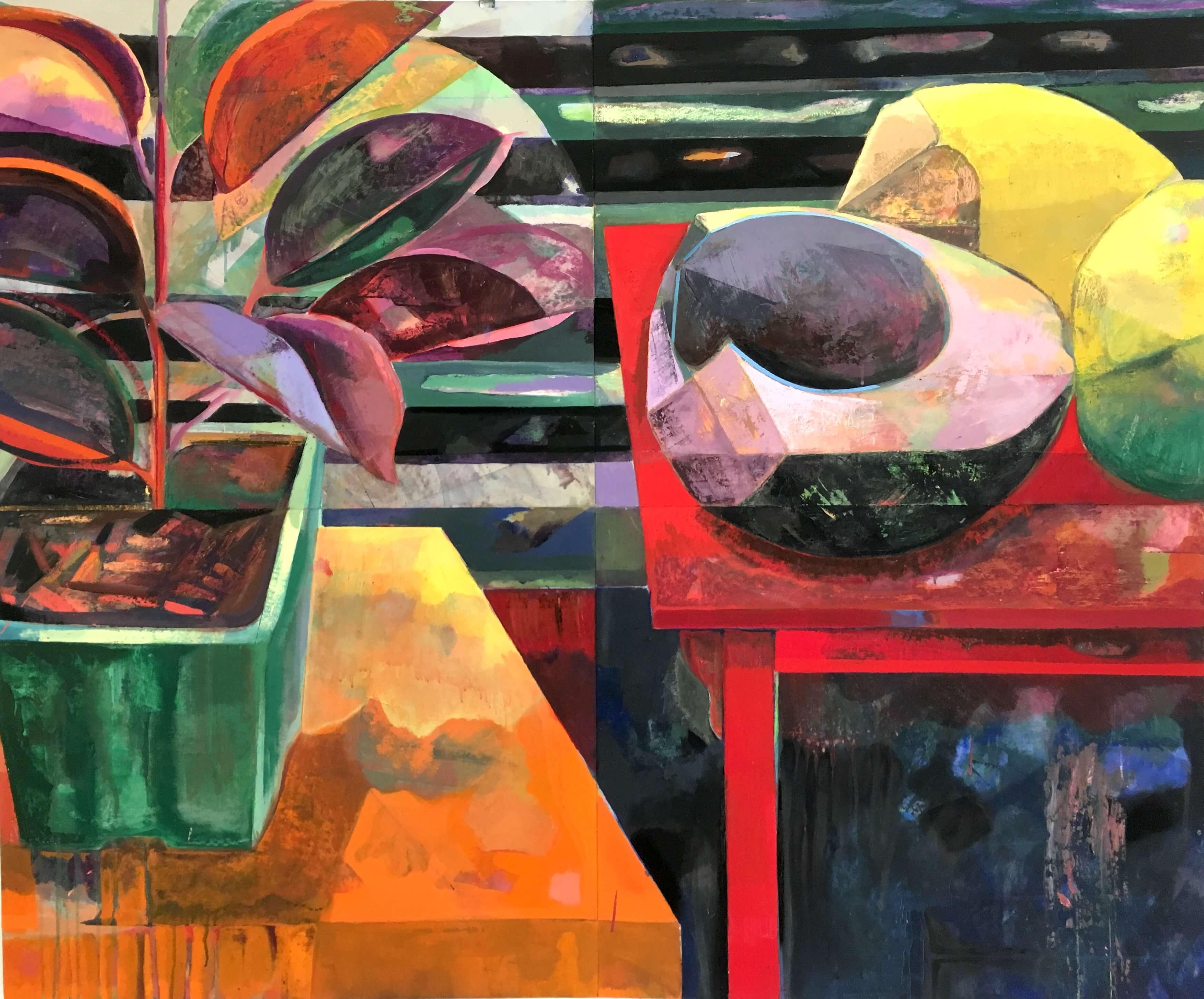 Che Lovelace, Komposition mit Gummibaum und schwarzer Kokosnuss, 2017, Verschiedene Pigmente an Bord, 127 x 152.4 cm, mit freundlicher Genehmigung der Eric Hussenot Gallery