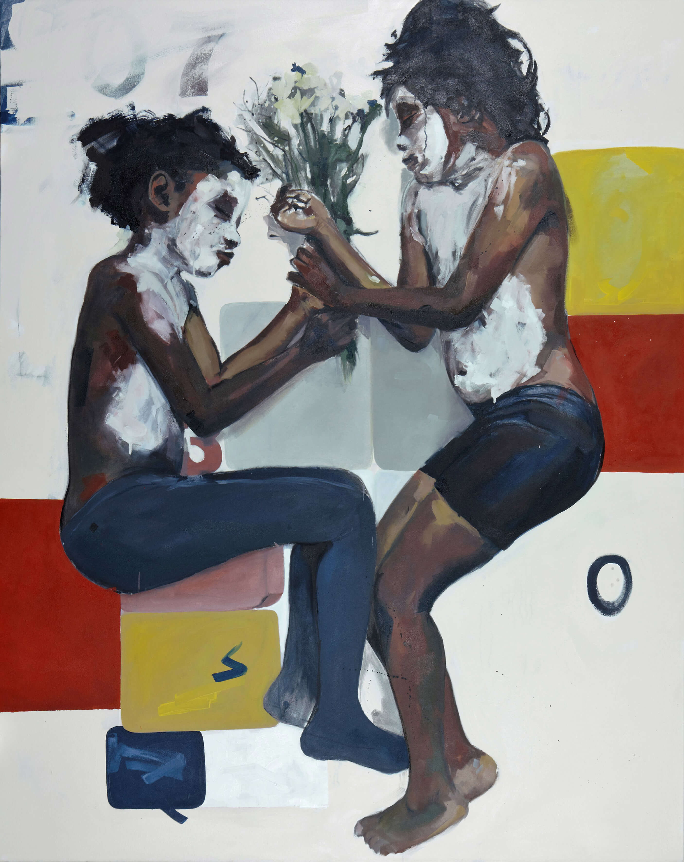 Kudzanai-Violet Hwami, Epilogue [Returning to the Garden], 2016, oil and acrylic on canvas, 214 x 170 cm, Courtesy of Tyburn Gallery