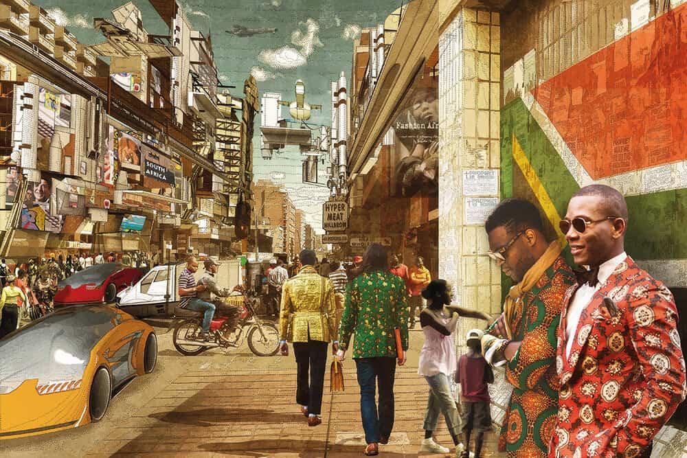 Lekan Jeyifo and Walé Oyéjidé, Johannesburg 2081 A.D.Africa 2081 A.D. series, 2014. Digital print. Image courtesy of Ikiré Jones.