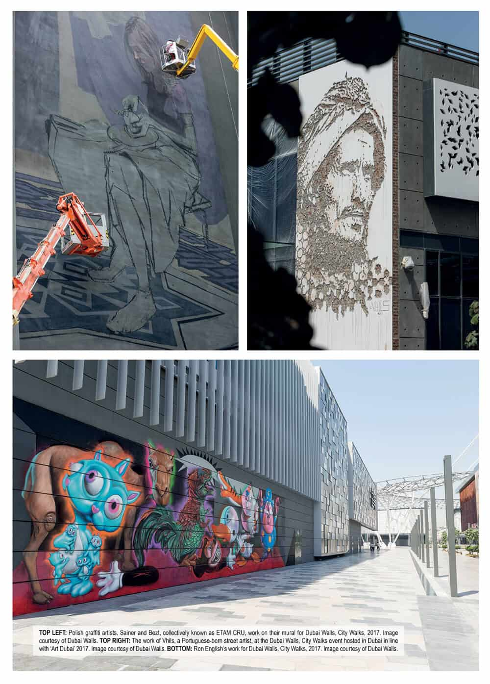 TOP LEFT: Polish graffiti artists, Sainer and Bezt, collectively known as ETAM CRU, work on their mural for Dubai Walls, City Walks, 2017. Image courtesy of Dubai Walls. TOP RIGHT: The work of Vhils, a Portuguese-born street artist, at the Dubai Walls, City Walks event hosted in Dubai in line with 'Art Dubai' 2017. Image courtesy of Dubai Walls. BOTTOM: Ron English's work for Dubai Walls, City Walks, 2017. Image courtesy of Dubai Walls.