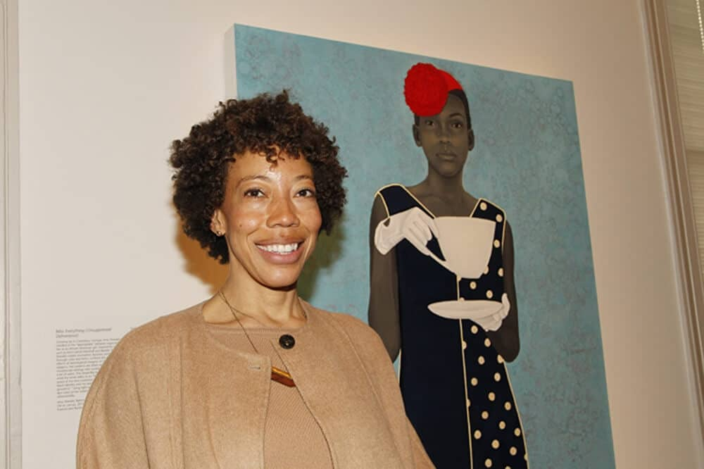 """Amy Sherald was the first-prize winner of the National Portrait Gallery's 2016 Outwin Boochever Portrait Competition. Sherald's painting is currently on view at the Kemper Museum of Contemporary Art, which is hosting the exhibition resulting from the Portrait Gallery's triennial Outwin Boochever Portrait Competition: """"The Outwin 2016: American Portraiture Today."""" Courtesy of Paul Morigi, 2016/AP Images for National Portrait Gallery."""