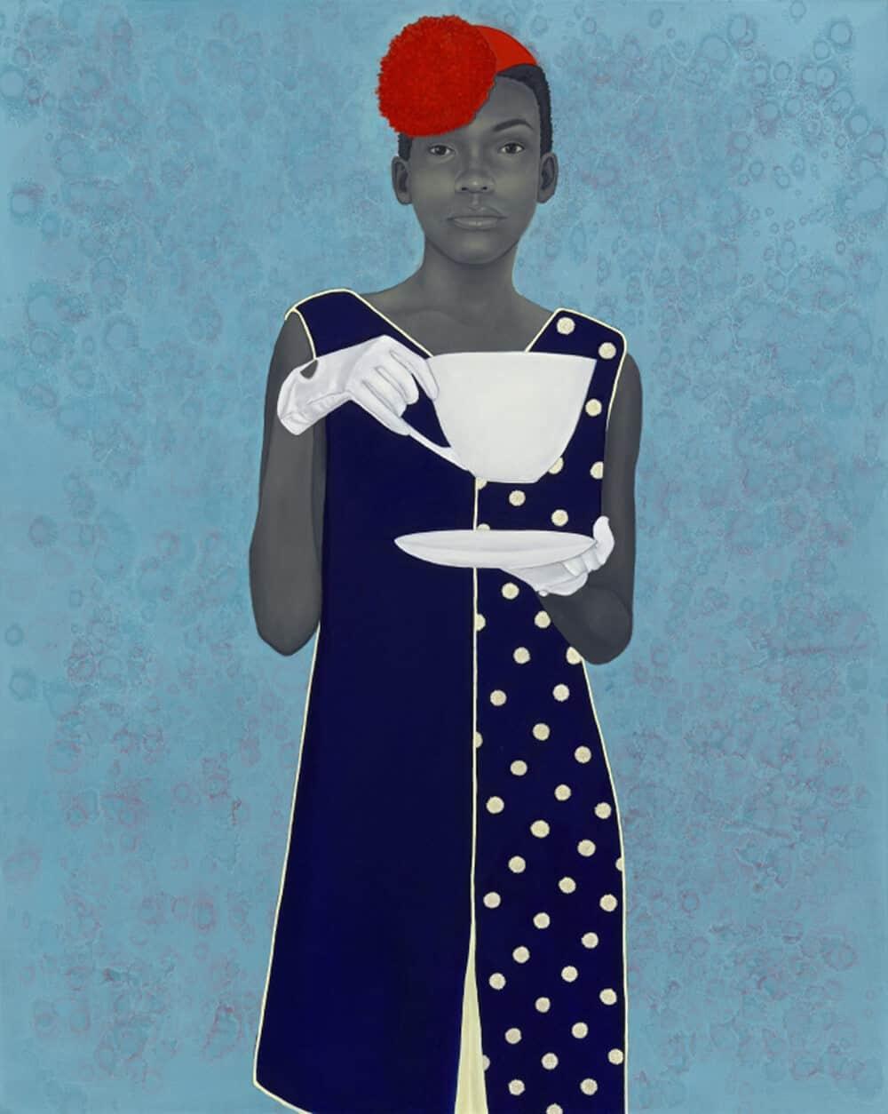 Miss Everything (Unsuppressed Deliverance) di Amy Sherald, olio su tela, 2013. Per gentile concessione di Frances & Burton Reifler © Amy Sherald.