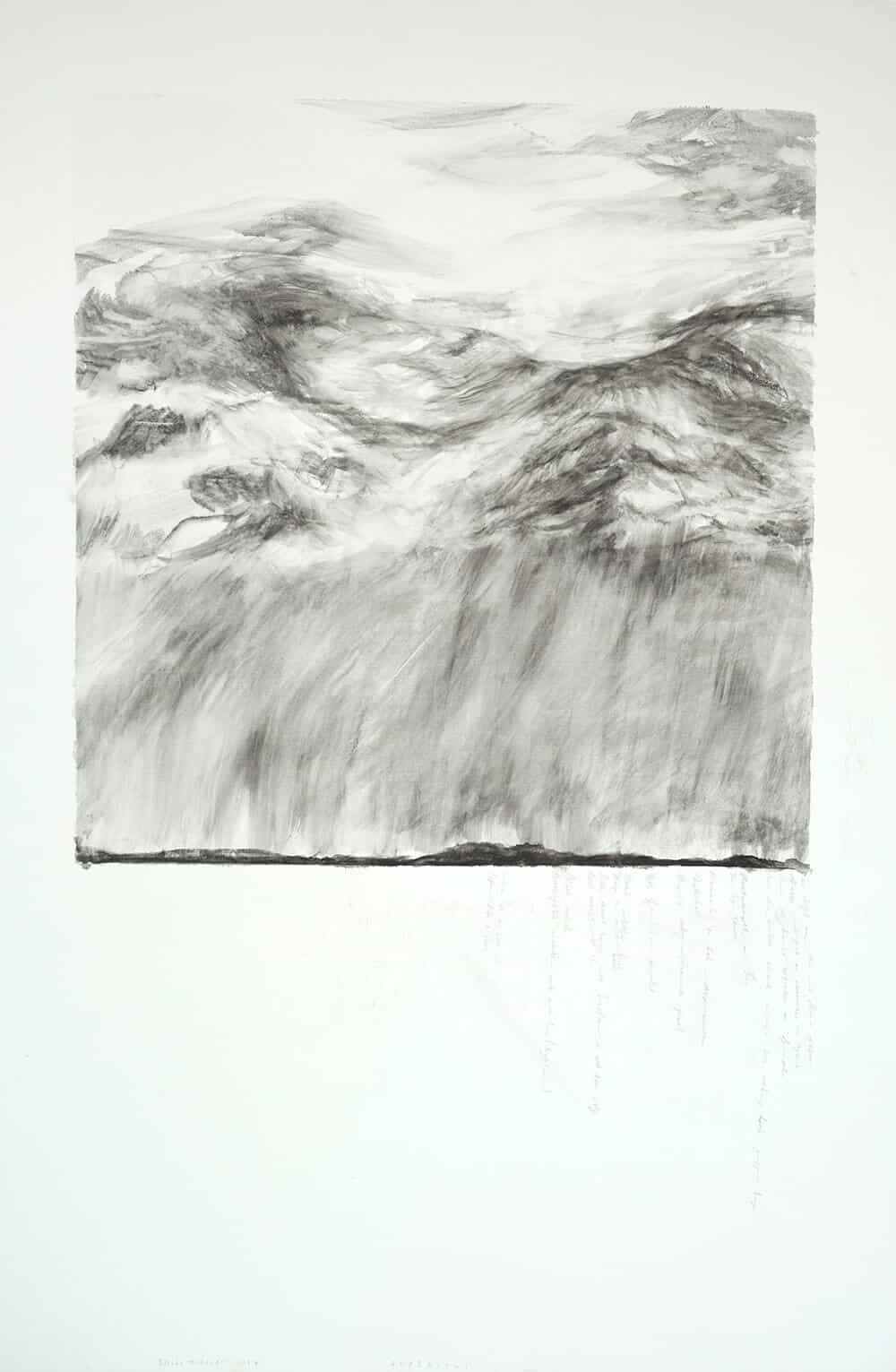 Elsabé Milandri, Asperitus, 2017. Graphite on Italian Cotton, 150x 100cm. Courtesy of the artist & SMITH.