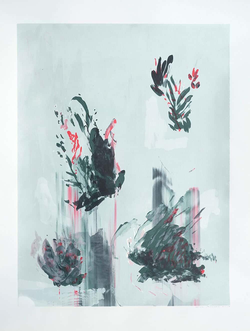 Elsabé Milandri, Schichten, 2017. Siebdruck Monotype 66 x 51cm. Mit freundlicher Genehmigung von SMITH.