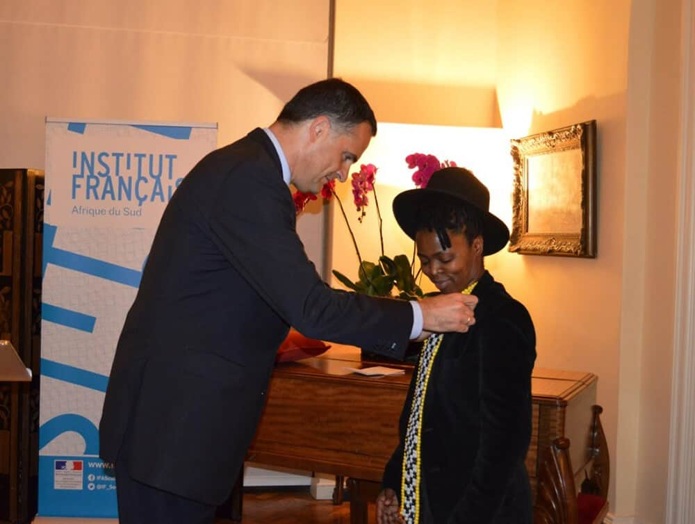Ambassador of France to South Africa, H.E. Mr. Christophe Farnaud with Zanele Muholi who received the insignia of Chevalier des Arts et des Lettres.