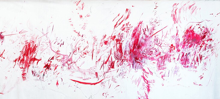 Elsabé Milandri, Deatils of Detail I, 2017. Acrylic and charcoal on canvas, 180 x 522cm aprox. Courtesy of artist & SMITH.