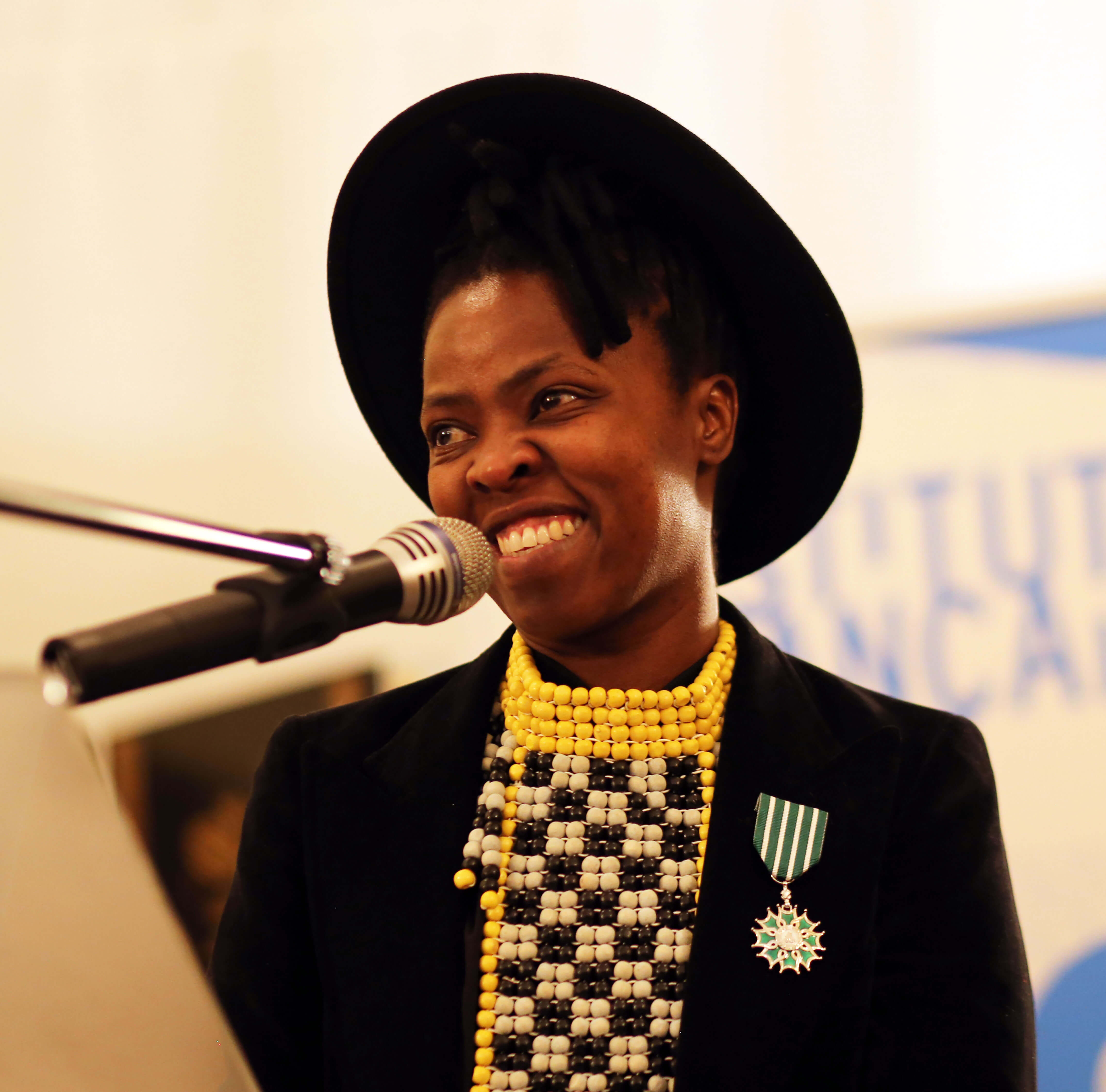 Zanele Muholi giving thanks and sharing her acceptance speech. Photography: Lerato Dumse. Courtesy of the photographer.