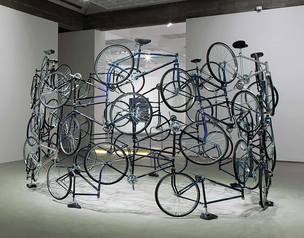 Ai Weiwei, Forever, 2003. 42 bicycles, 275 x 450cm. Edition: 3/5. Courtesy of Tiroche DeLeon Foundation.