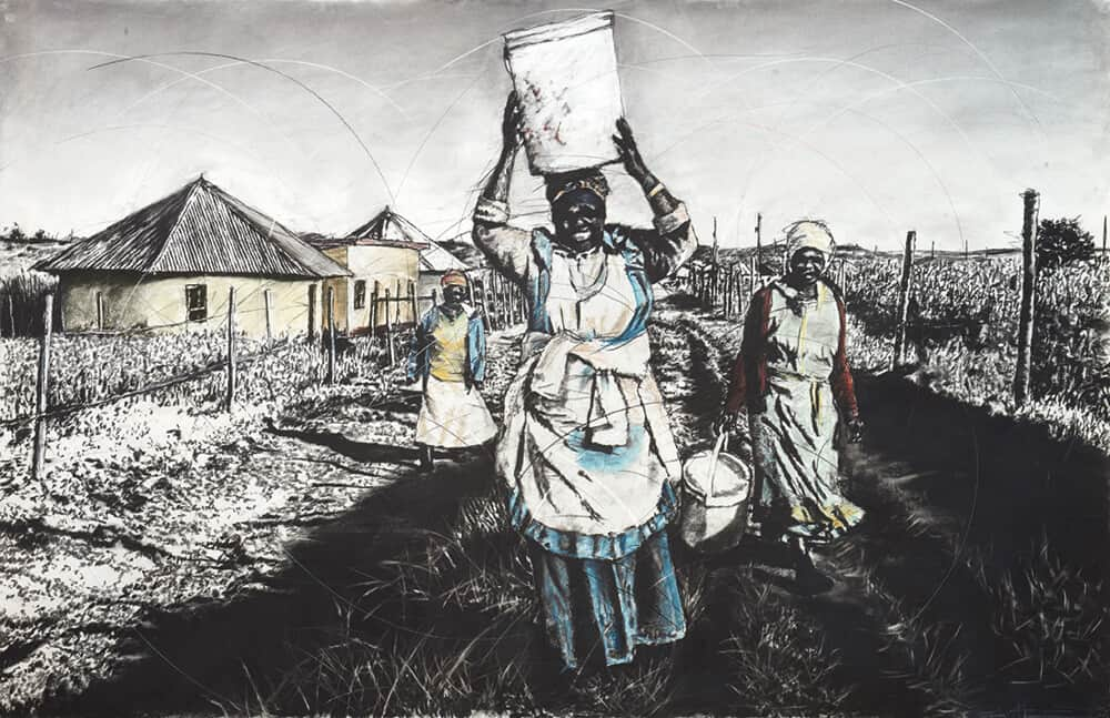 Phillemon Hlungwani, Qunu 1. Charcoal and pastel on paper, 140 x 219cm. Image courtesy of Everard Read Johannesburg.