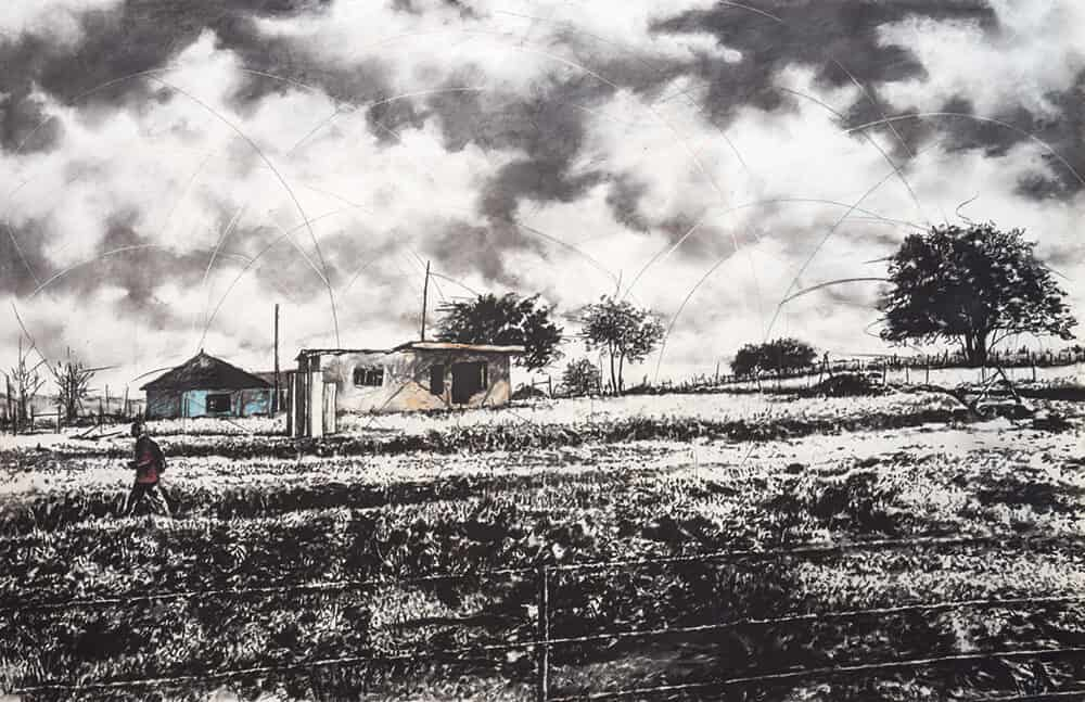 Phillemon Hlungwani, Qunu 8. Charcoal and pastel on paper, 140 x 219cm. Image courtesy of Everard Read Johannesburg.