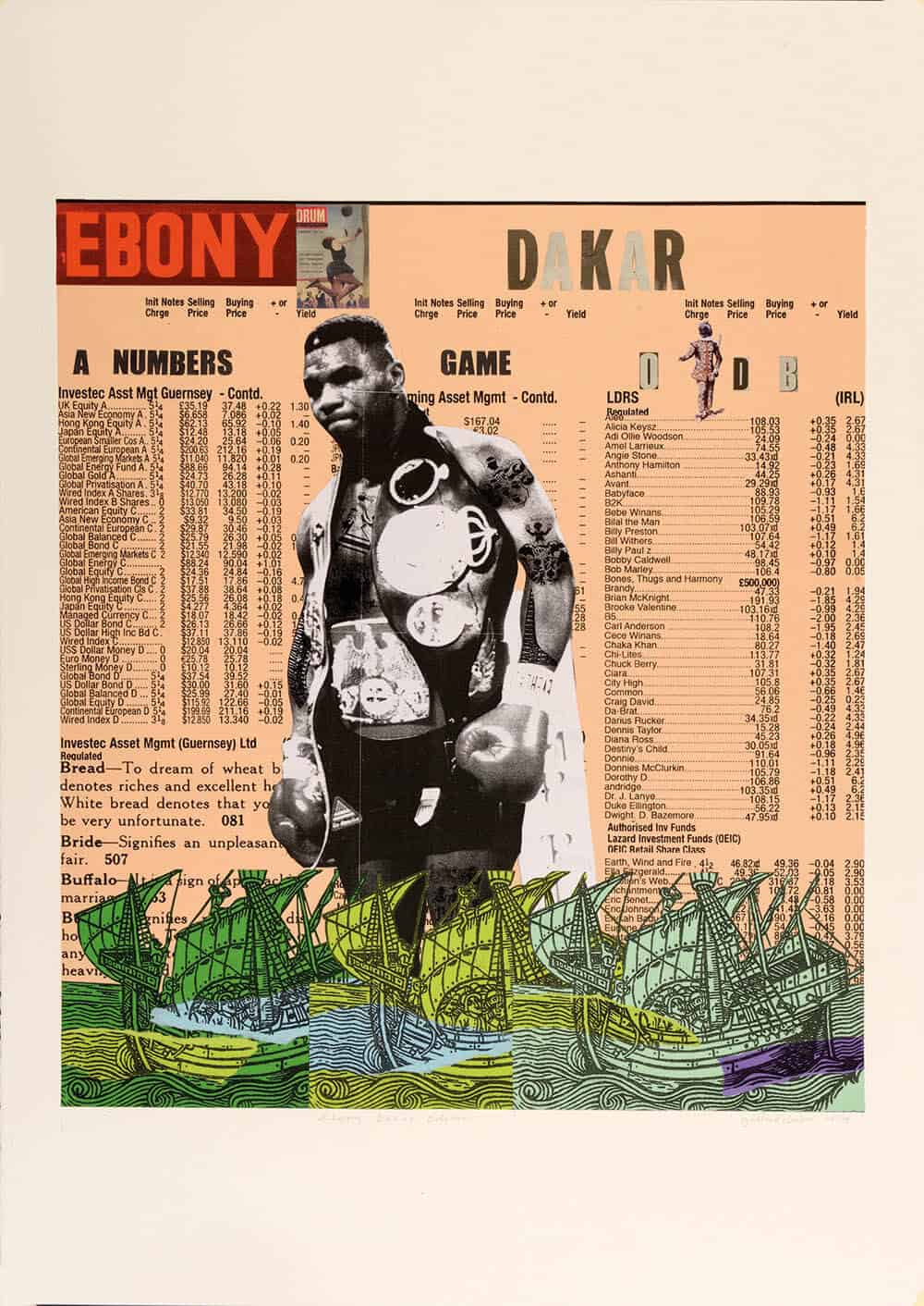Godfried Donkor, Ebony Dakar Edition, 2015, 70 x 100cm, Collage sobre papel, Cortesía de Gallery 1957.