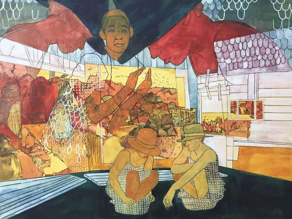 Pamela Phatsimo Sunstrum, Sightseer (detail), 2017. Pencil and gouche on Aquabord, 22,5 x 30,5cm. Courtesy of the artist.