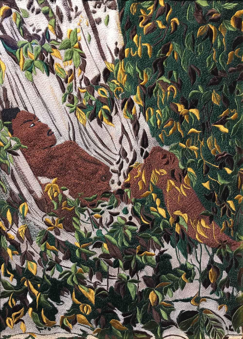 Kimathi Mafafo, Solitude I, 2017. Embroidered Panel, 55 x 40cm. Courtesy of the artist & EBONY.