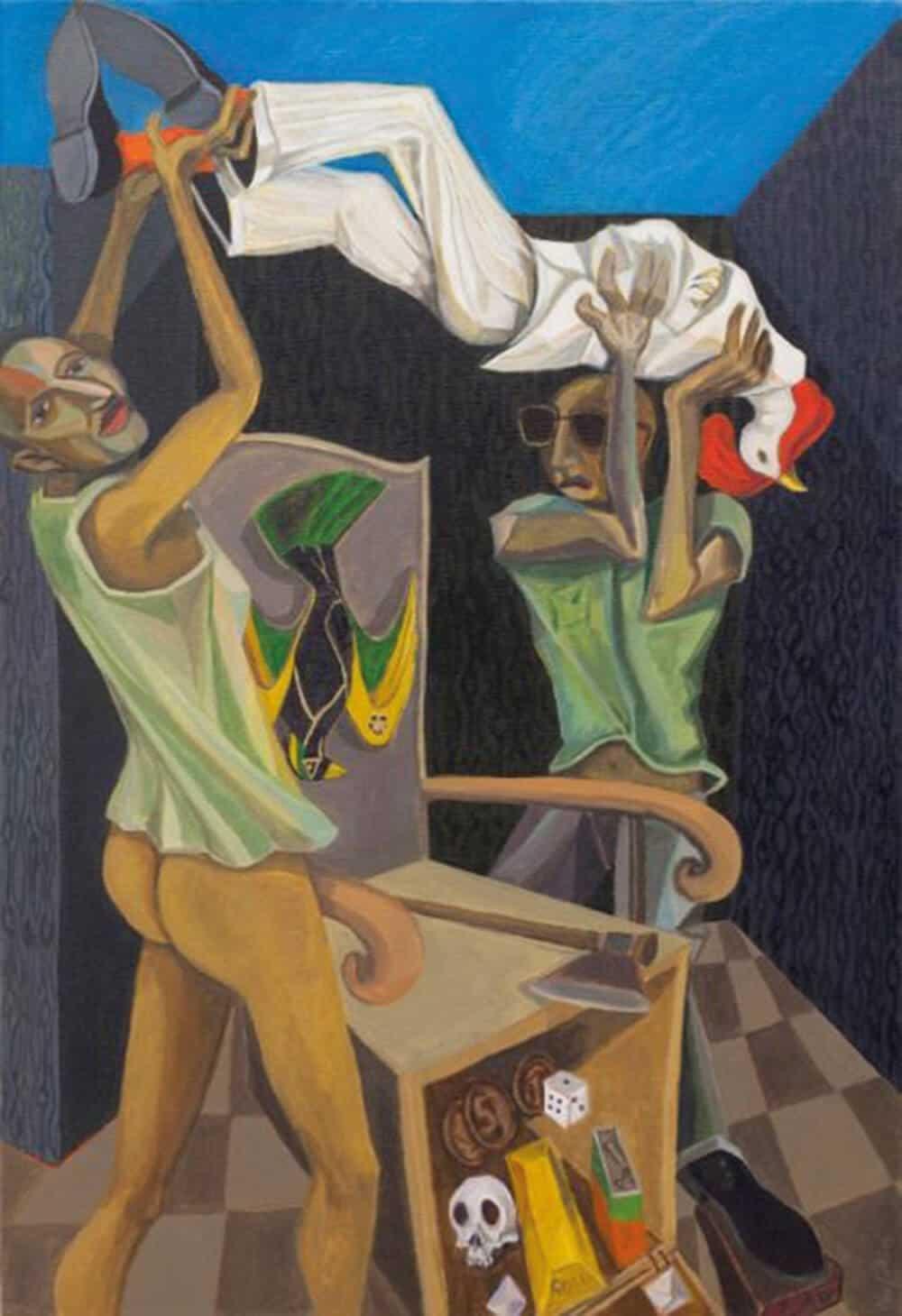 Richard Mudariki, Coupd'etat (2013) acrylic on canvas, 95x65 cm