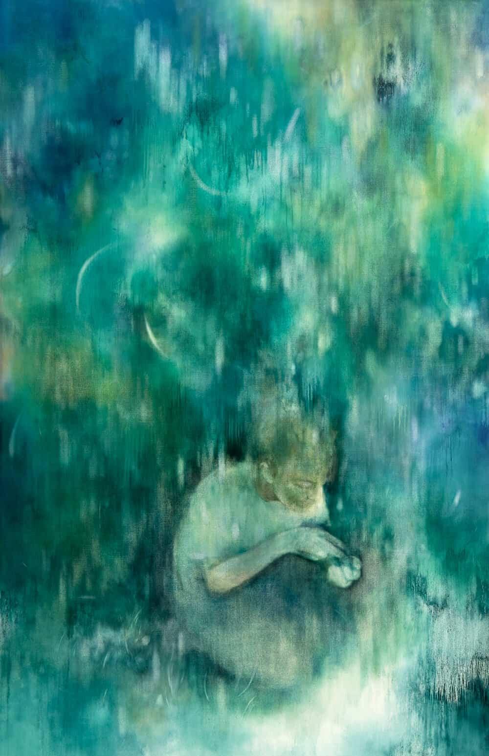 Sarah Biggs, Die Aufgabe, 2017. Öl auf Leinwand, 190 × 123 cm. Mit freundlicher Genehmigung des Künstlers & Barnard.
