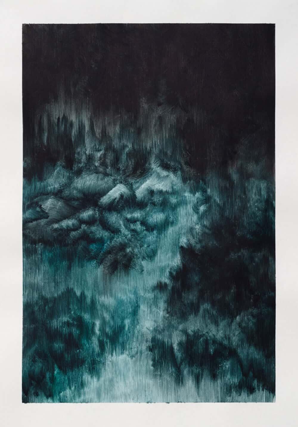 ZARAH CASSIM. Fall Into, 2017. Oil on paper. 350 x 265mm. Framed