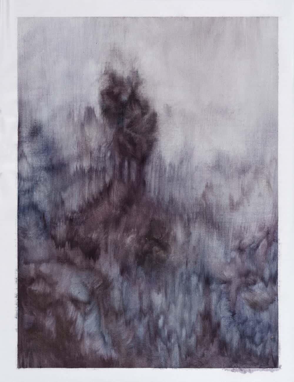 ZARAH CASSIM. Purple Matter, 2017. Oil on canvas paper. 435 x 335mm. Framed
