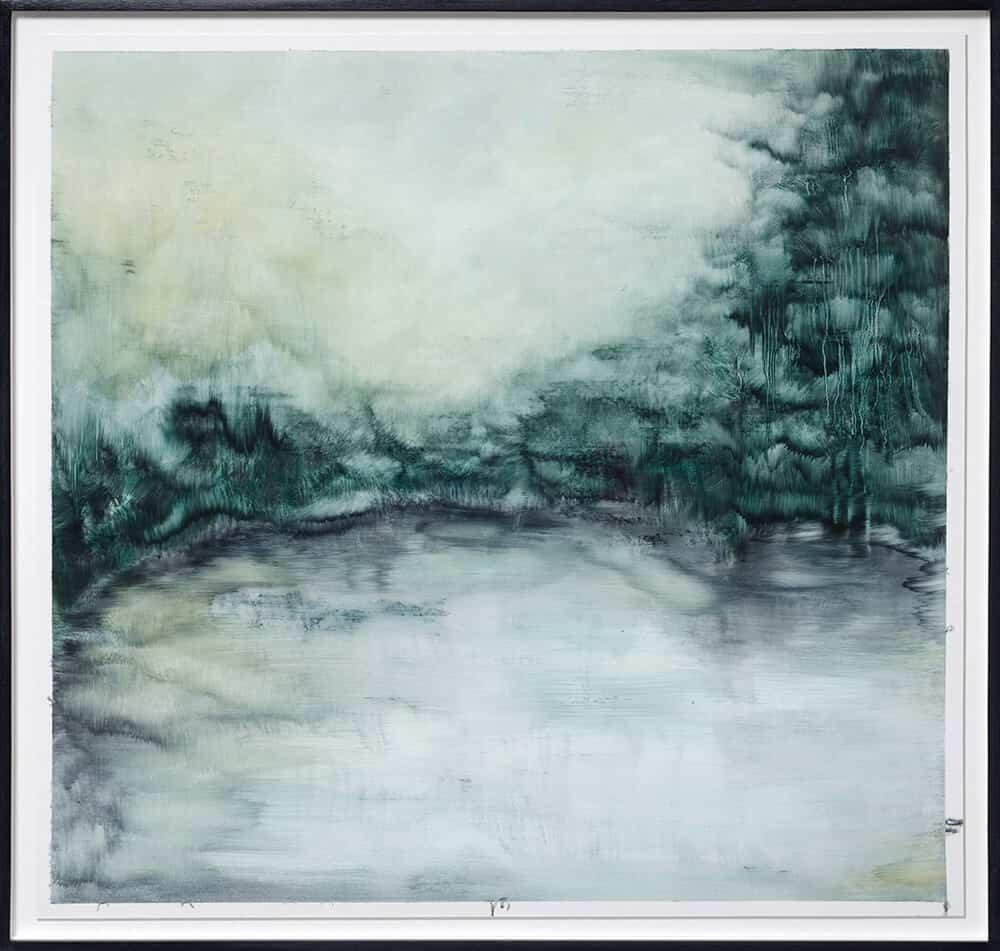 Zarah Cassim. Sleepless III, 2017. Oil on tissue paper, 945 x 945mm, Framed.