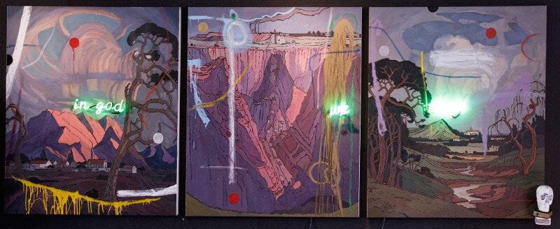 Lot 49 Wayne Barker In God We Trust, triptych R 350 000 - 500 000