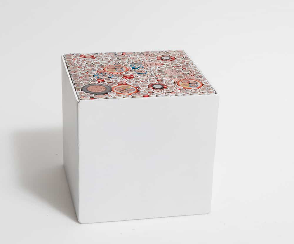Ingrid Bolton, Flow, 2017. Metal box, various cables, 15x15x15cm. Courtesy of the artist & Berman Contemporary.