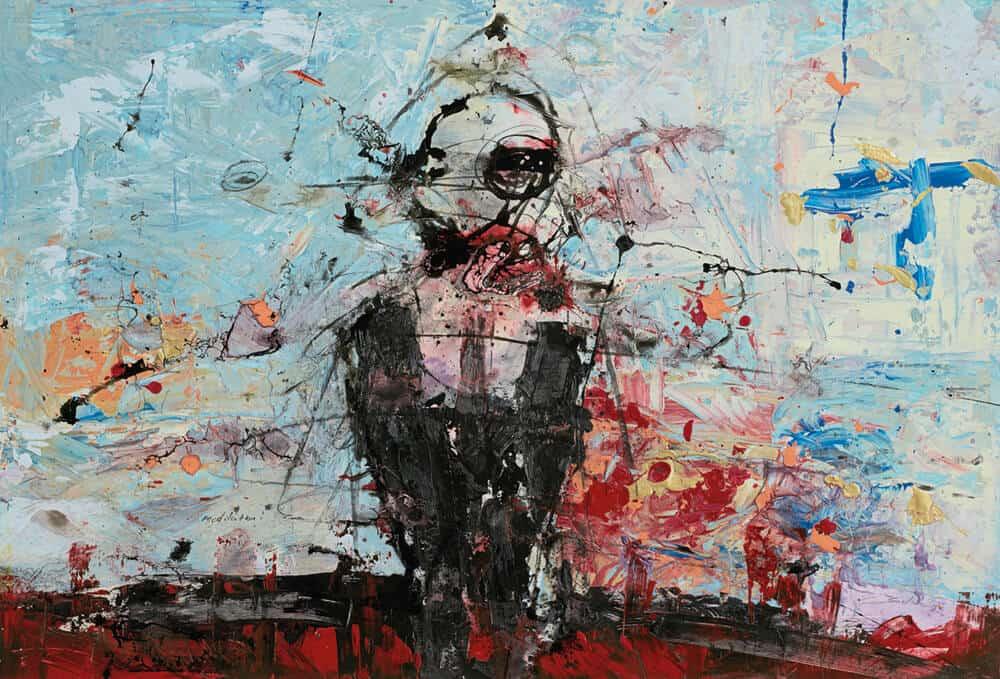 Daniel Stompie Selibe, Meditation, 2017. Mixed Media on Fabriano, 760x1100mm. Courtesy of the artist & Berman Contemporary.