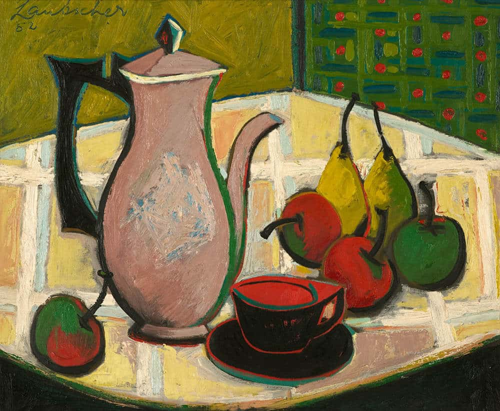Lot 605 Erik Laubscher Still Life with Coffee Pot and Fruit Sold R2 273 600