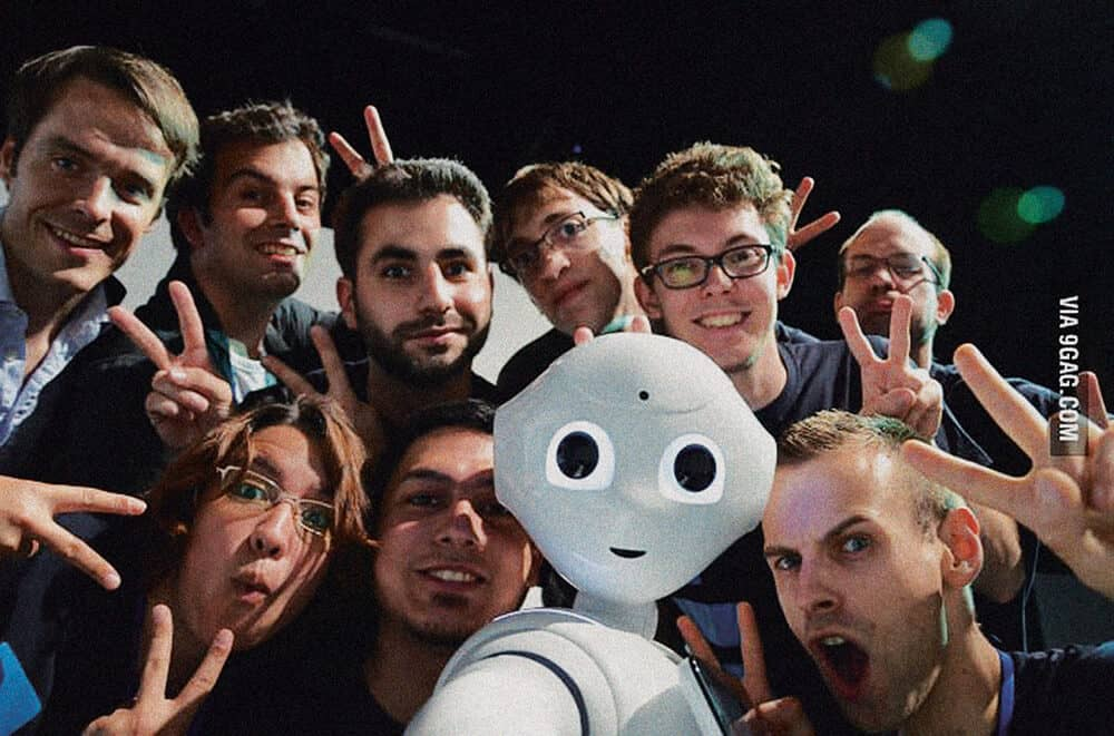 Pepper, the robot, taking the first robot selfie. Manufactured by SoftBank Robotics. Courtesy of 9GAG.com