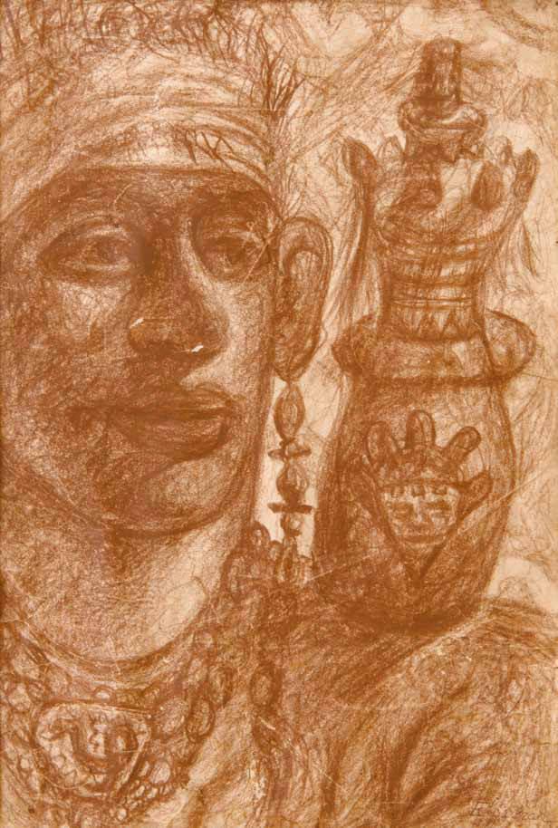 Abdel-Hadi El-Gazzar, Untitled, Circa 1940's. Soft pastel on paper, 19,5 x 29 cm. Courtesy of Karim Francis Gallery.