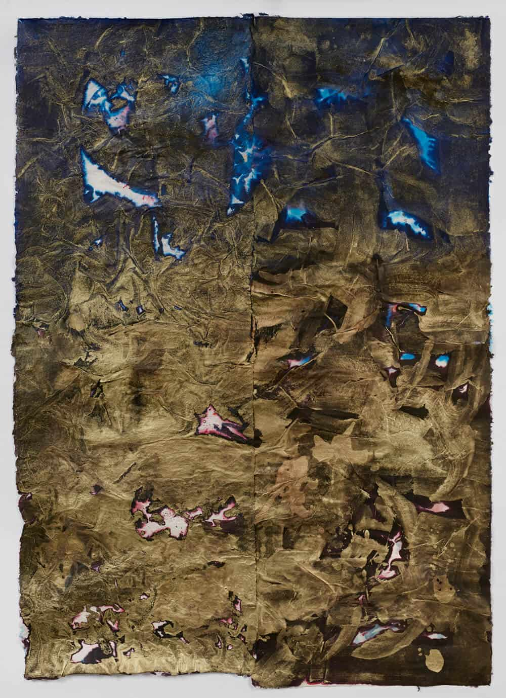 Bevan de Wet, Untitled (Undertow II), 2017. Handmade Sisal paper with ink, dye and gold pigment, 167x118cm. Courtesy of the artist & Berman Contemporary.