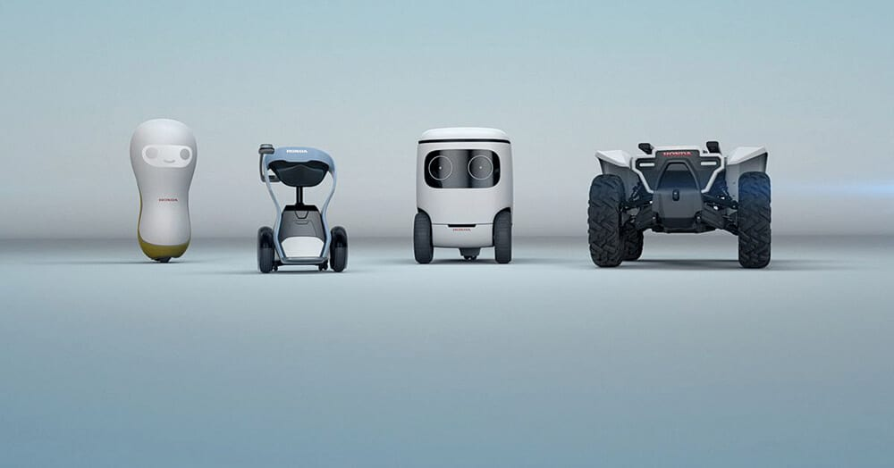"LEFT TO RIGHT: Smiling companion bot (3E-A18) which shows ""compasion to humans with a variety of facial expressions""; the chair type mobility concept (3E-B18), designed for ""casual use"" in indoor or outdoor spaces; another ""mobility concept with multi-functional cargo space"" (3E-C18); and an ""aotonomous off-road concept"" (3E-D18). All robot concepts form Honda."