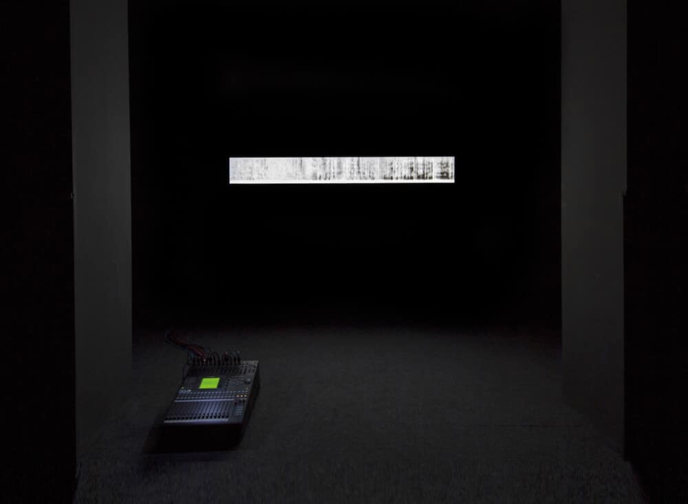 Lawrence Abu Hamdan, Saydnaya (the missing 19db), 2017. Sound, mixing desk, light box, dimensions variable. Commissioned by Sharjah Art Foundation. Courtesy of the artist Sharjah Art Foundation and Maureen Paley, London.