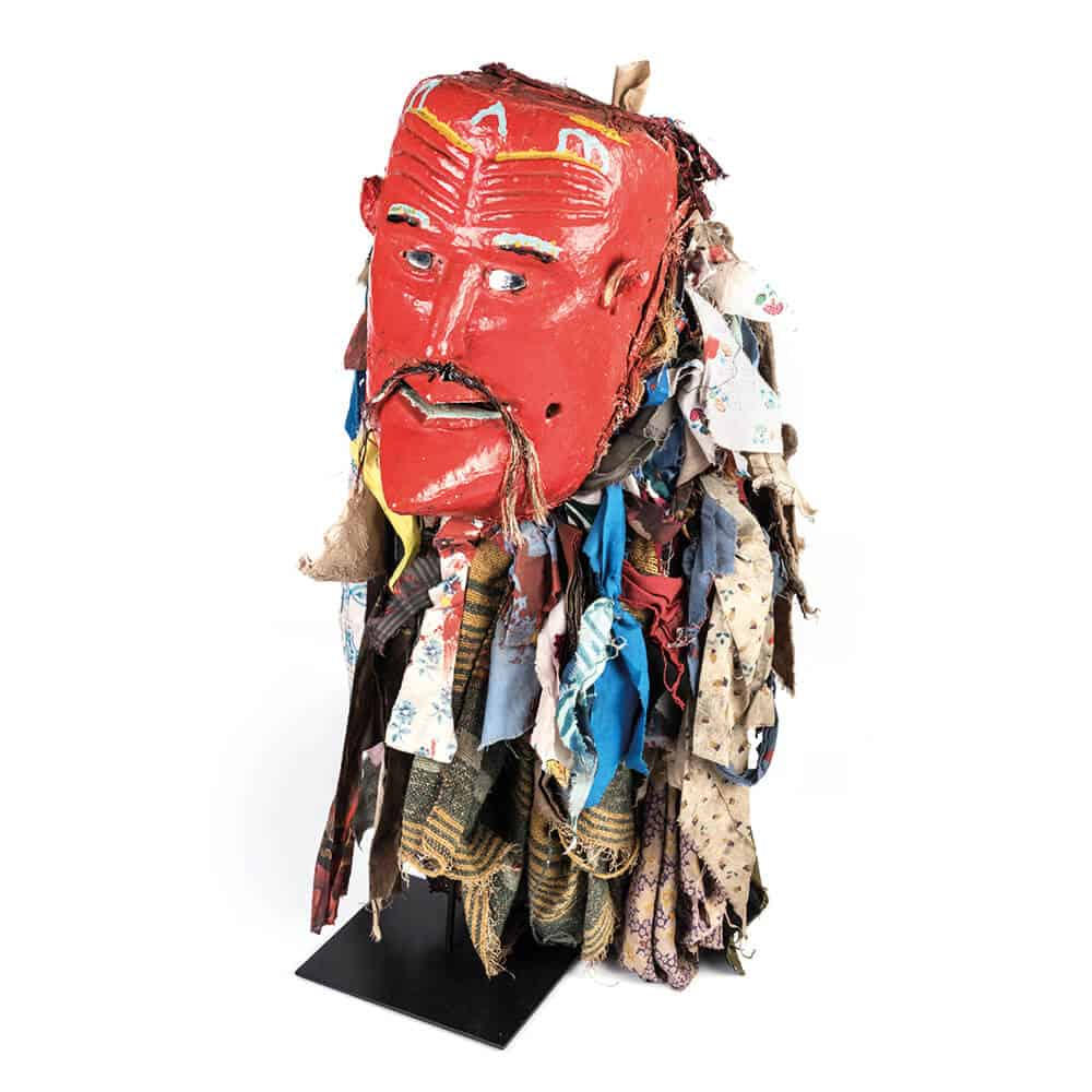 Chewa, Nyau mask, Malawi, 20th century. Wood, paint, mirrors, hair, textile pieces. Mask height: 30cm. Courtesy of Stephan Welz & Co.