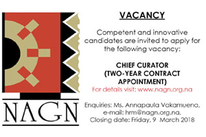 NAGN (National Art Gallery Namibia) - Chief Curator Vacancy