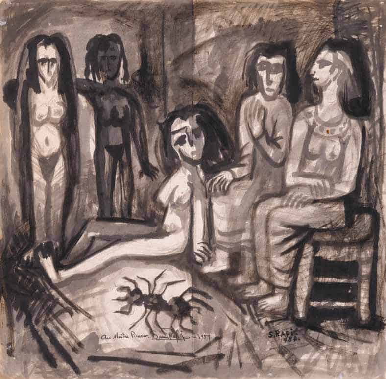 """Samir Rafi, """"Au Maitre Picasso"""", 1954. Ink and gouache on paper, 45,5 x 46 cm. Courtesy of Karim Francis Gallery."""