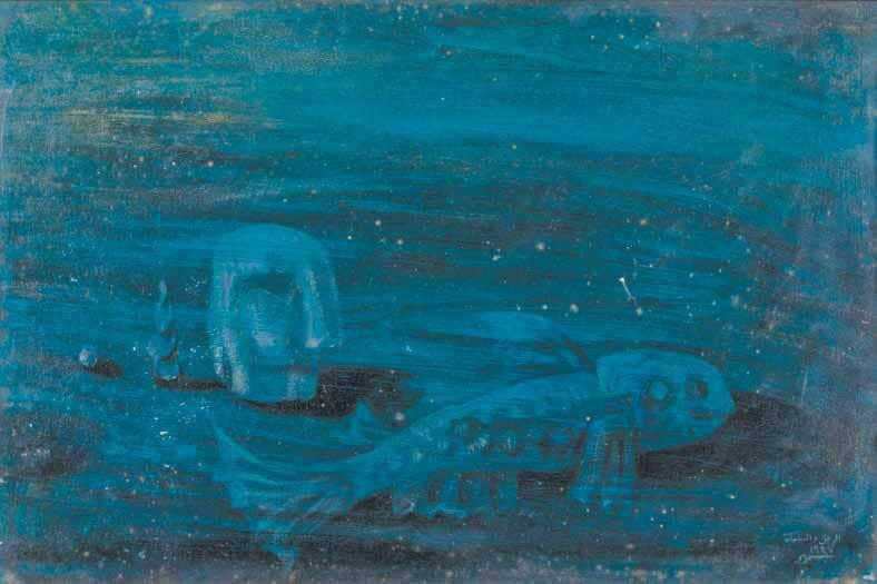 """Samir Rafi, """"Al Ragol Wal Samaka"""" - """"Le Pecheur"""", 1947. Oil on board, 59,5 x 39,5 cm. Courtesy of Karim Francis Gallery."""