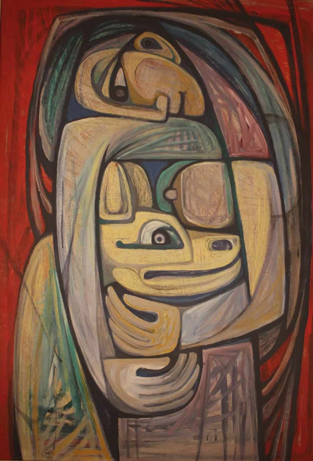 Samir Rafi, Untitled, 1973. Oil on Board. Courtesy of UBUNTU Art Gallery.