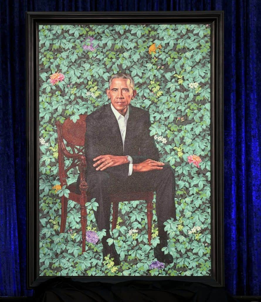 The official portrait of former President Barack Obama, created by Kehinde Wiley, at the National Portrait Gallery on Monday, February 12, 2018 in Washington, D.C. (Olivier Douliery/Abaca Press/TNS)