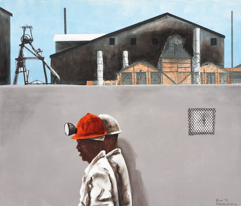 Sam Nhlengethwa, The Red Helmet, 2015. Oil and acrylic on canvas, 92 x 105cm. Courtesy of the artist & Goodman Gallery.